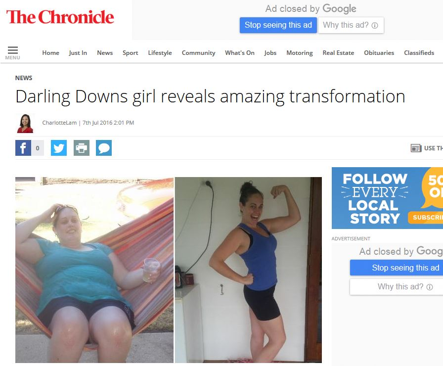 chronicle - darling downs girl reveals amazing transformation